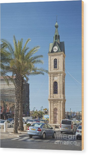 Old Jaffa Clocktower In Tel Aviv Israel Wood Print