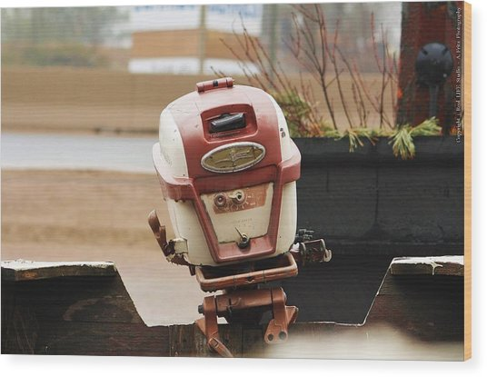 Old Johnson Outboard Wood Print by Al Fritz
