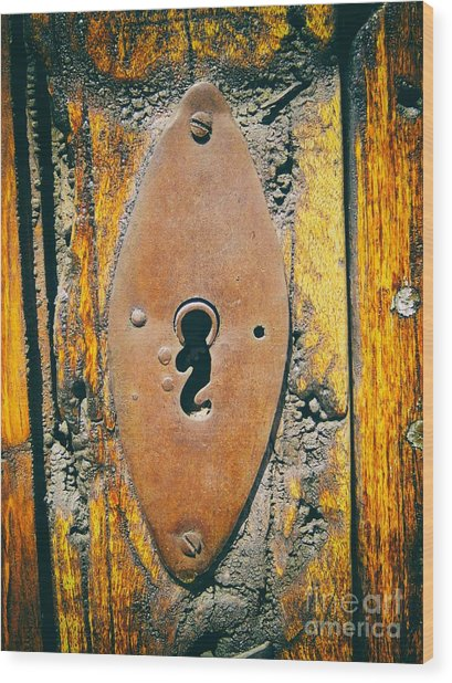 Old Key Hole Wood Print