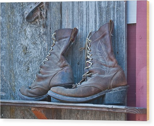 Old Leather Boots Still Life Wood Print