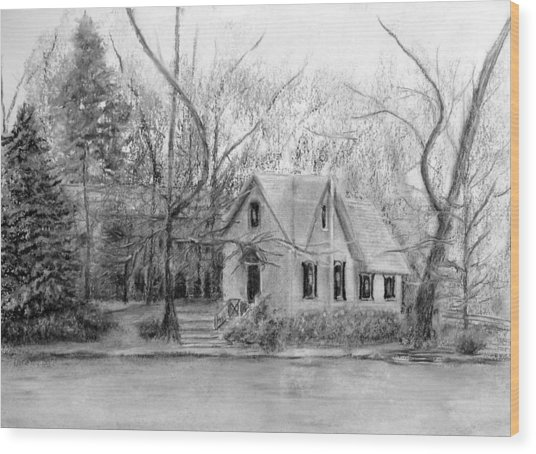 Old Library On Lake Afton - Winter Wood Print