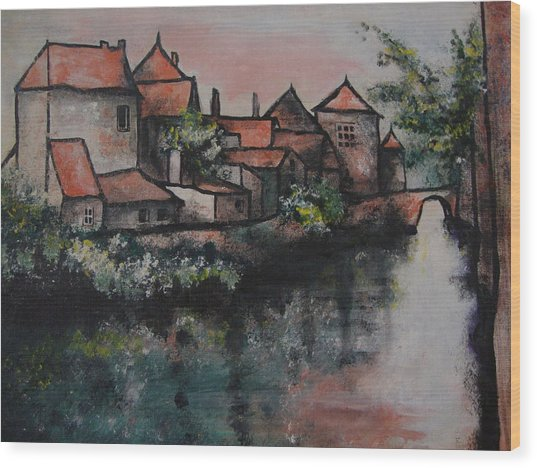 Old Little Village Wood Print