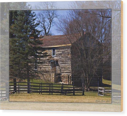 Old Log Home Wood Print