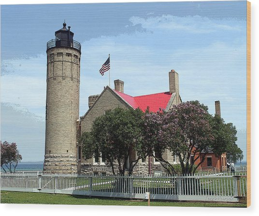 Old Mackinac Point Light Wood Print