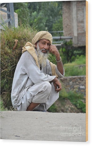 Old Man Carrying Fodder Swat Valley Kpk Pakistan Wood Print