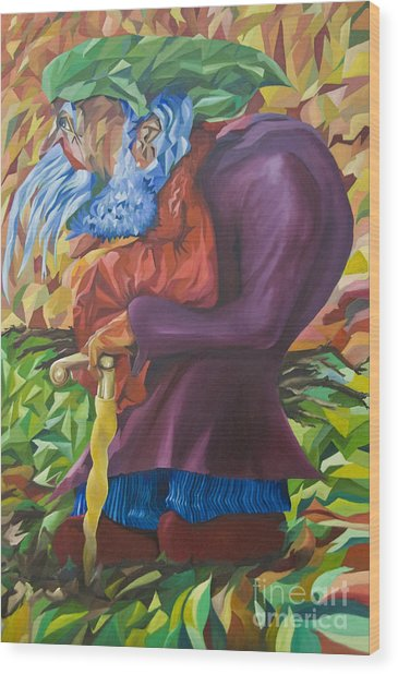 Old Man Collecting Sticks - But Not On The Sabbath Wood Print