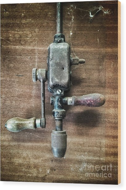 Old Manual Drill Wood Print