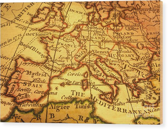 old map of europe and mediterranean photograph by colin and linda mckie