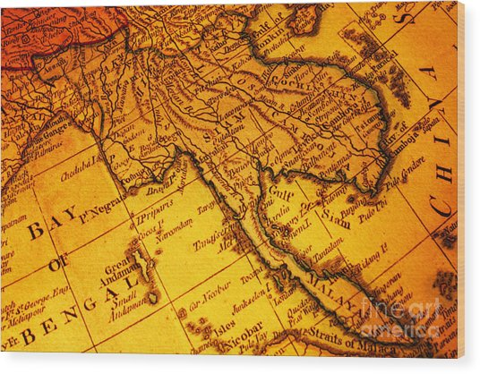 Old Map Thailand Siam Malaya Asia Burma Thailand Cambodia Laos Wood Print