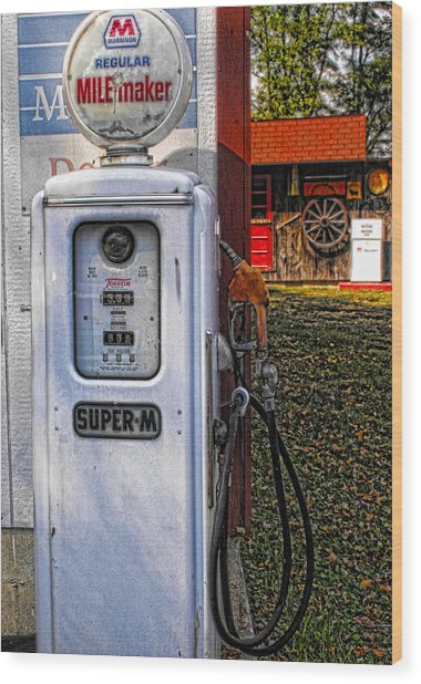 Old Marathon Gas Pump Wood Print