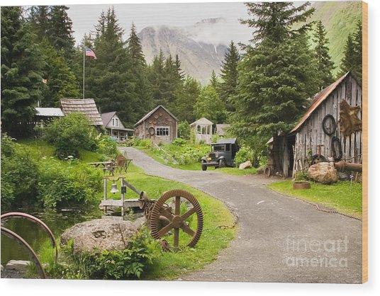 Old Mining Alaskan Town Wood Print