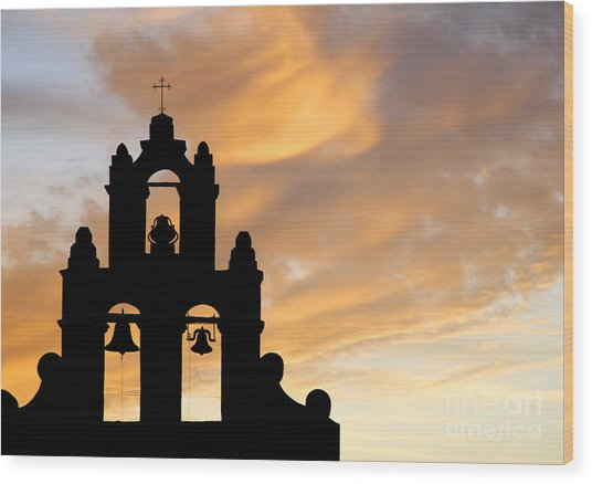 Old Mission Bells Against A Sunset Sky Wood Print