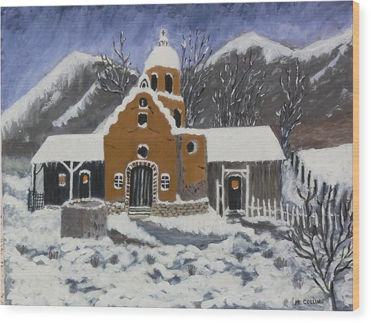 Old Mission In Winter Wood Print