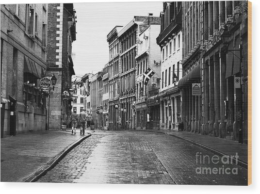 Old Montreal Streets Wood Print by John Rizzuto