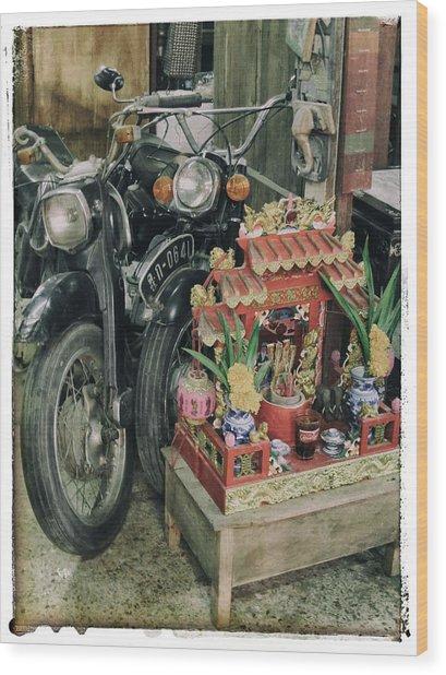 Old Motorcycles East Of Bangkok Wood Print by River Engel