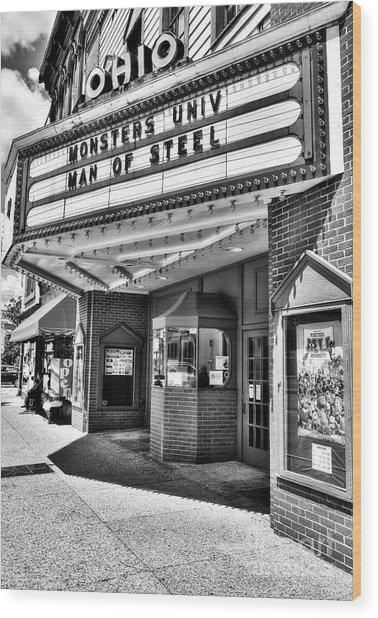 Old Movie Theater Bw Wood Print by Mel Steinhauer