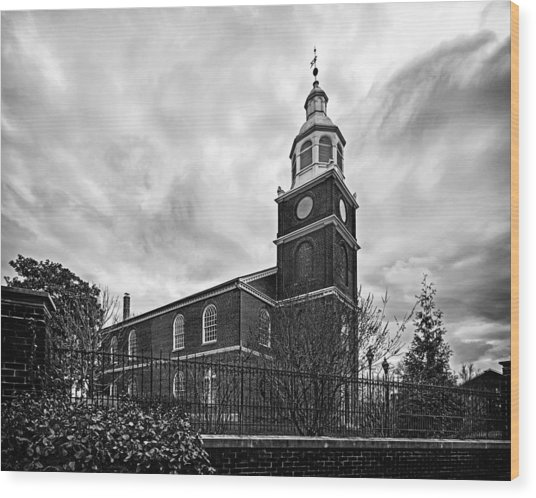 Old Otterbein Church In Black And White Wood Print