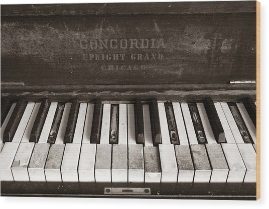 Old Piano Keys Wood Print