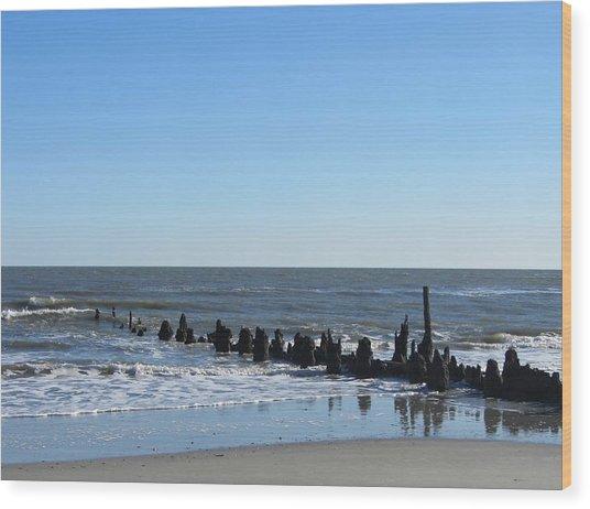 Old Pier Remnants 6 Wood Print