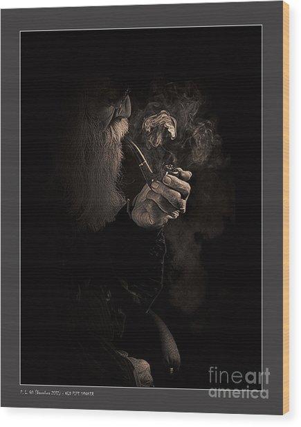 Old Pipe Smoker Wood Print