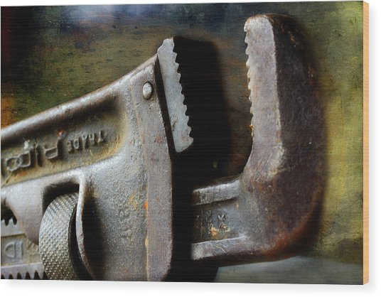 Old Pipe Wrench Wood Print