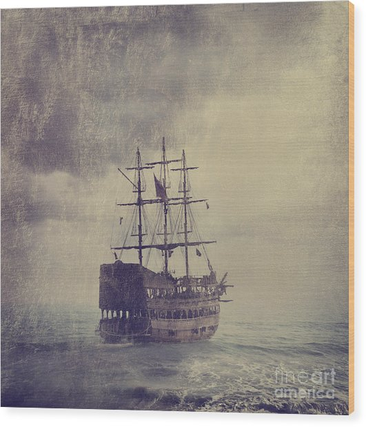 Old Pirate Ship Wood Print by Jelena Jovanovic