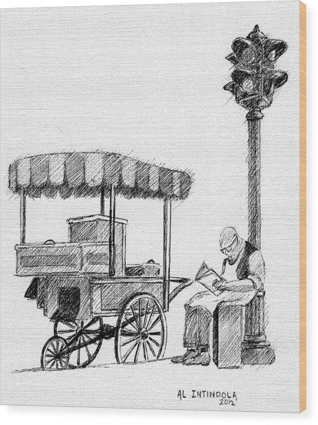 Old Pushcart Wood Print
