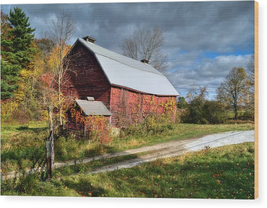 Old Red Barn - Berkshire County Wood Print
