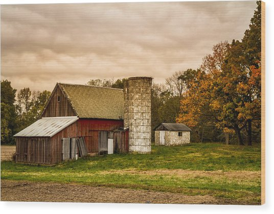 Old Red Barn And Silo Wood Print