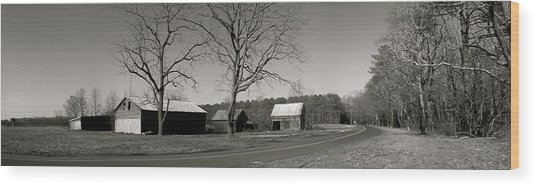 Old Red Barn In Black And White Long Wood Print