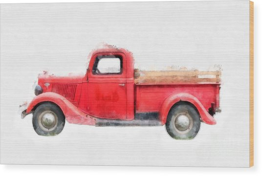 Old Red Ford Pickup Wood Print