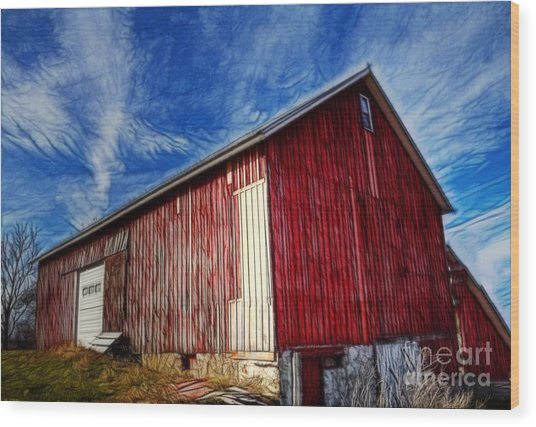 Old Red Wooden Barn Wood Print