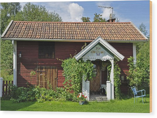 Old Red Wooden Hut Wood Print by Conny Sjostrom