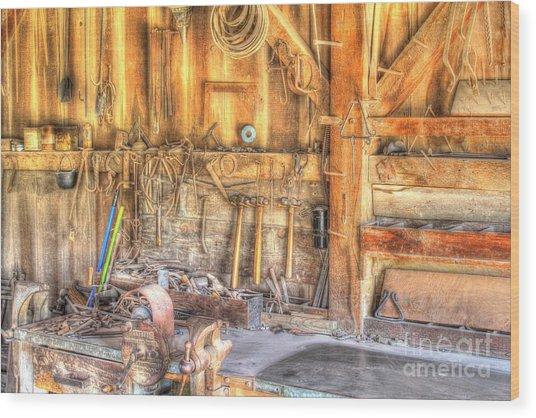 Old Rustic Workshop Wood Print