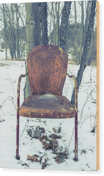 Old Rusty Chair In The Woods Wood Print