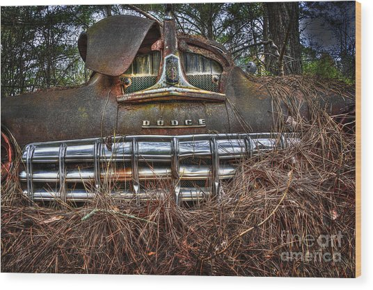 Old Rusty Dodge Wood Print