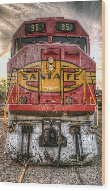 Old Santa Fe Engine Wood Print