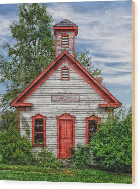 1892 Summit School House Version 2 Wood Print