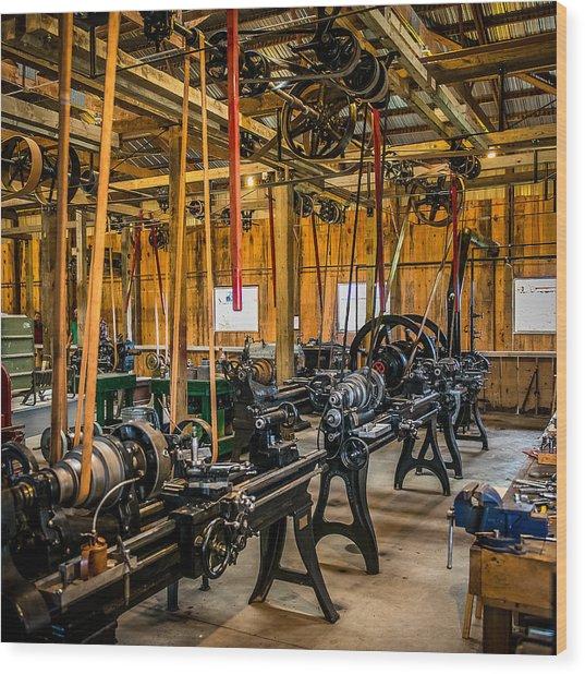 Old School Machine Shop Wood Print
