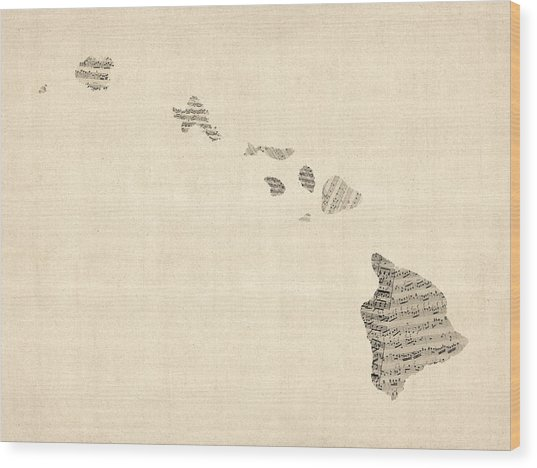Old Sheet Music Map Of Hawaii Wood Print
