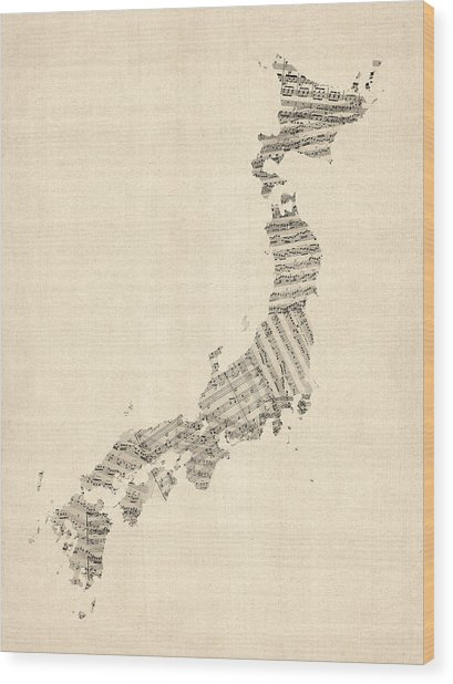 Old Sheet Music Map Of Japan Wood Print