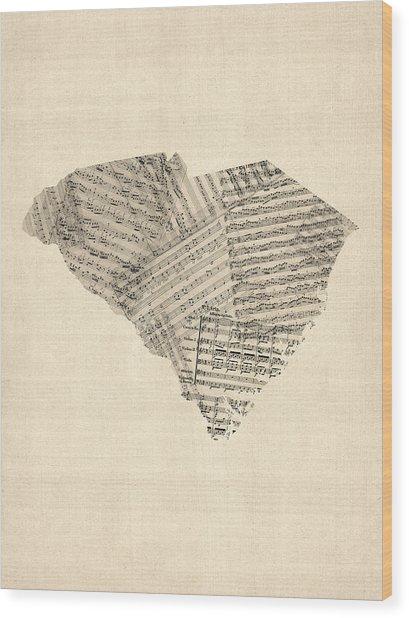 Old Sheet Music Map Of South Carolina Wood Print