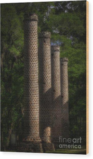 Old Sheldon Church Columns Wood Print