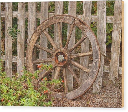 Old Spare Wheel Wood Print