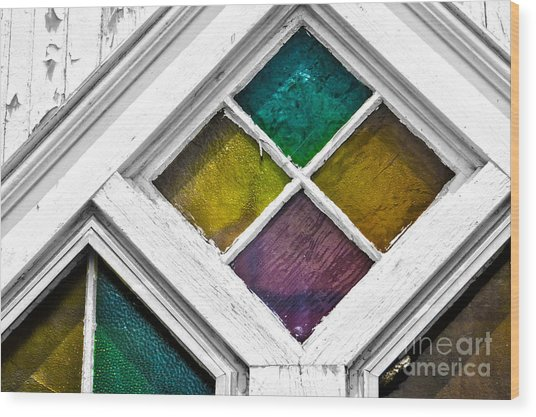 Old Stained Glass Windows Wood Print