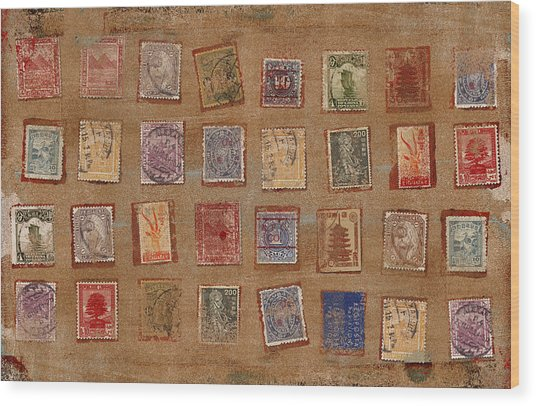Old Stamp Collection Wood Print