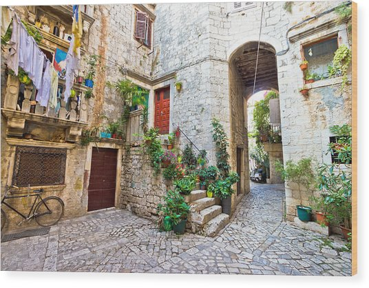 Old Stone Street Of Trogir Wood Print
