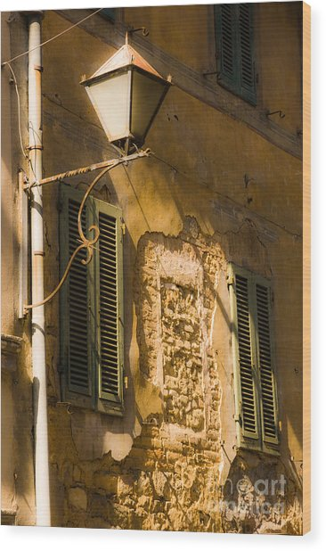 Old Street Lamp And Shuttered Windows In Montalcino Wood Print