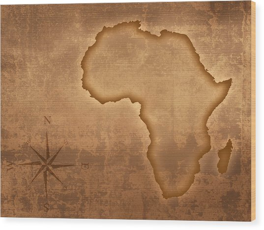 Old Style Africa Map Wood Print