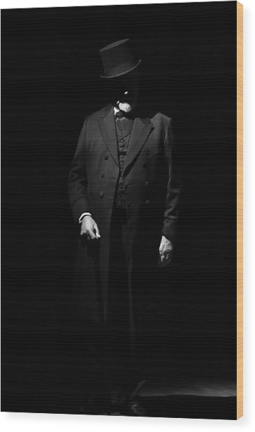 Vintage Gentlemen With Tall Hat - Style Has Not Deadline Wood Print